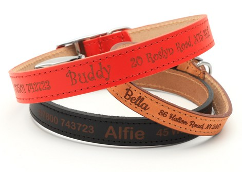 Personalised Custom Leather Dog Puppy Collar | Design Your Unique Pet Id Tag